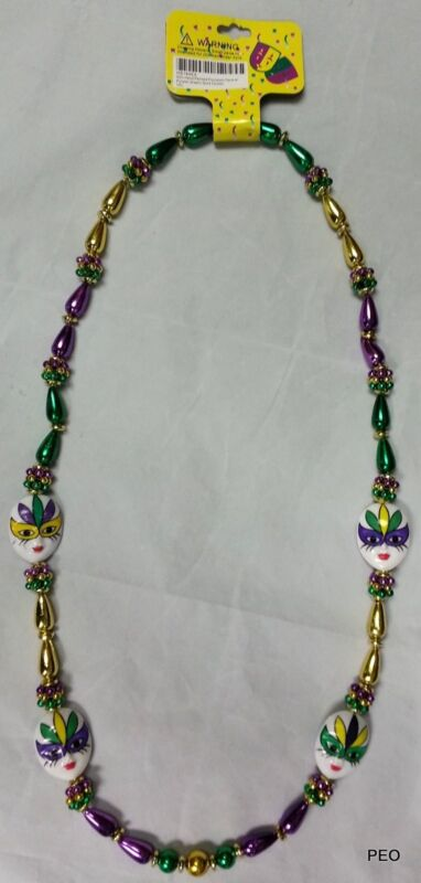 Mardi Gras Beads Painted Jester Face 42 inch Purple Green Gold PGG Bead Necklace