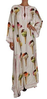 DOLCE & GABBANA Dress Ice Cream Print Silk Kaftan Cape Maxi IT38/US4/XS $2800