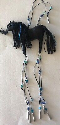 Wild Horse Mustang (MUSTANG WILD HORSE INDIAN WAR PONY EFFIGY AMULET HAND CRAFTED LEATHER ORNAMENT)