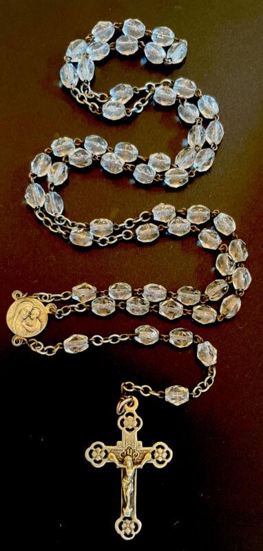 Vintage Catholic Crystal 5 Decade Petite Rosary, Silver Tone Crucifix Italy