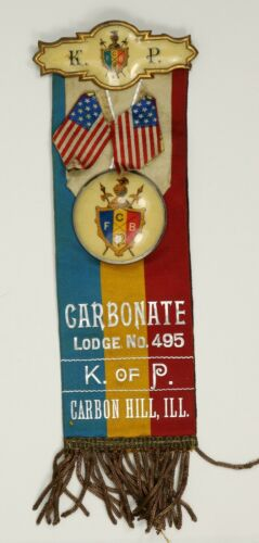 Knights of Pythias Lodge Member Ribbon, Jewel and American Flags.  RB035/JN