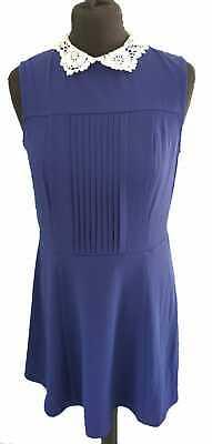 H&M NAVY BLUE PART PLEATED DRESS - UK Size 12