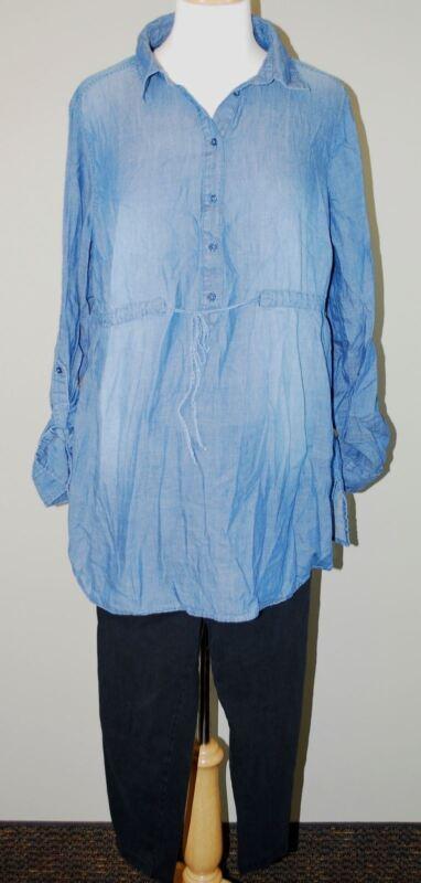H&M Mamma Maternity Chambray Denim Tunic Top & Black Crop Leggings - Size Large