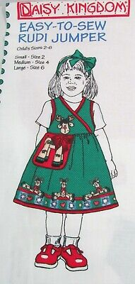 Daisy Kingdom Christmas Jumper Sewing Panel Reindeer Girl Size 2-6 New Vintage