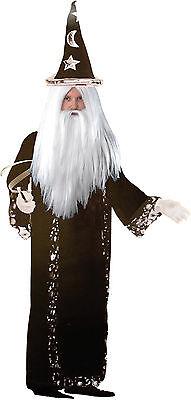 Zauberer Deluxe Merlin Kostüm Gr. 52  Magier Hexer Robe Hut Handschuhe Samt - Deluxe Samt Kostüm