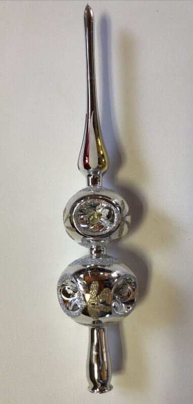 Vintage Multi Indent Mercury Glass Hand Decorated Christmas Tree Topper Silver