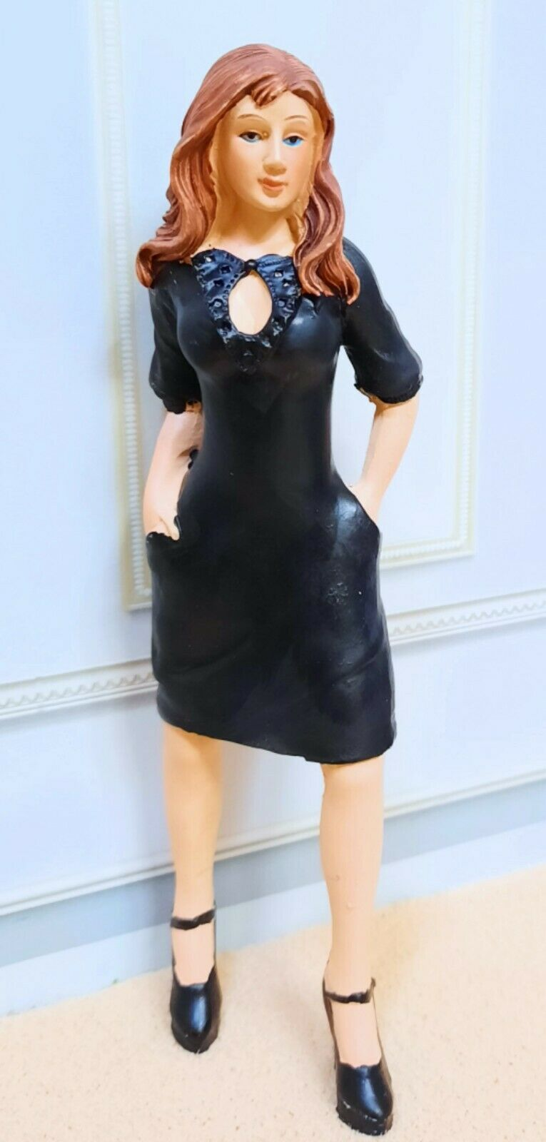 Dollhouse Miniature Resin Young Girl Doll in Black Dress & High Heels
