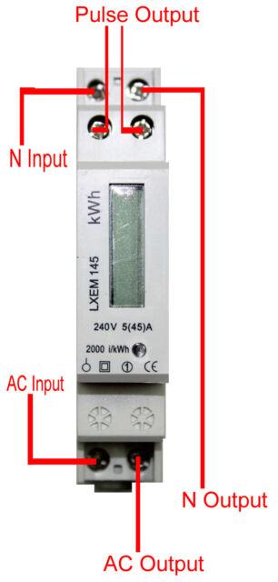 Energy Power 45A Electricity Din Rail Kilowatt Hour Meter Single Phase Kwh 1