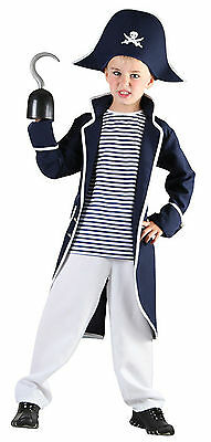 Boys Kids Childs PIRATE Fancy Dress Costume Party Outfit Captain Hook Age 4 - 12