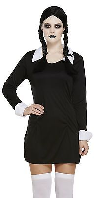 Ladies Sexy Wednesday Addams Family 1960s Halloween Fancy Dress Costume Outfit