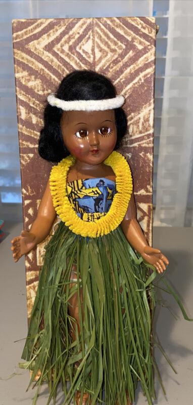 Vintage Hawaiian Elsie Denney Hula Doll Honolulu Hawaii In Original Box 1960's