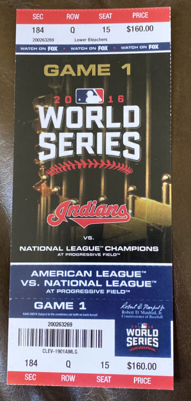 Cubs @ Indians 2016 World Series GM 1 Reprint Replica Non Authentic Ticket Stub
