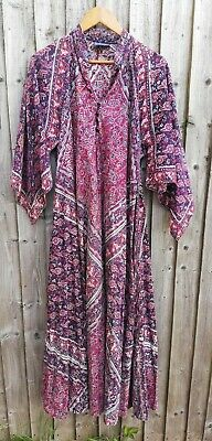 Vintage Indian Ethnic Block Print Boho Kaftan Dress. Hippy /Festival.