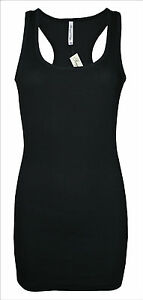 Womens-B-C-Long-Vest-Tank-Top-Ribbed-Black-Size-8-to-24-Ladies
