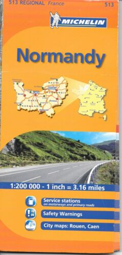 Map of Normandy, France, Michelin Map #513