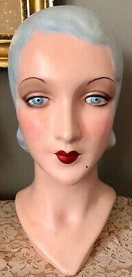 DECOEYES 1920's 1930's VINTAGE REPRODUCTION MANNEQUIN HEAD HAT DISPLAY