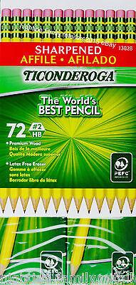Ticonderoga Sharpened Pencils 2 Hb Premium Wood Latex Free Eraser 72 Count