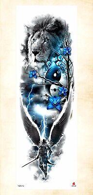 US Seller- adult fake tattoos lion flower full arm tattoo 18