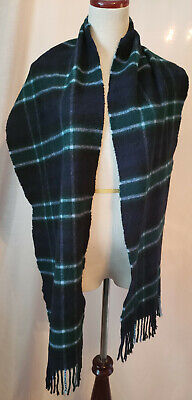 "Burberry 100% Cashmere scarf Blue Green Gray Check pattern 70"" long - Authentic"