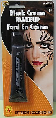 Evil Face Painting Halloween (BLACK CREAM MAKEUP Adults Child Evil Halloween Costume Face Paint Rubie's)