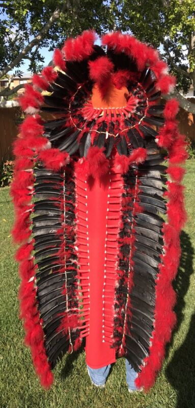 "Double Trailer War Bonnet Feather Headdress 72"" Native American Made NAVAJO"