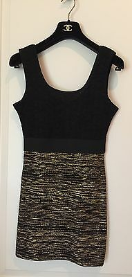 NEW H&M Black Fitted Tank Top With Gold Accents, SZ S