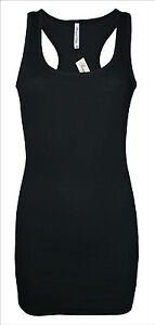 Womens-B-C-Long-Vest-Dress-Tank-Top-Ribbed-Lycra-STRETCH-Size-6-to-24-Ladies