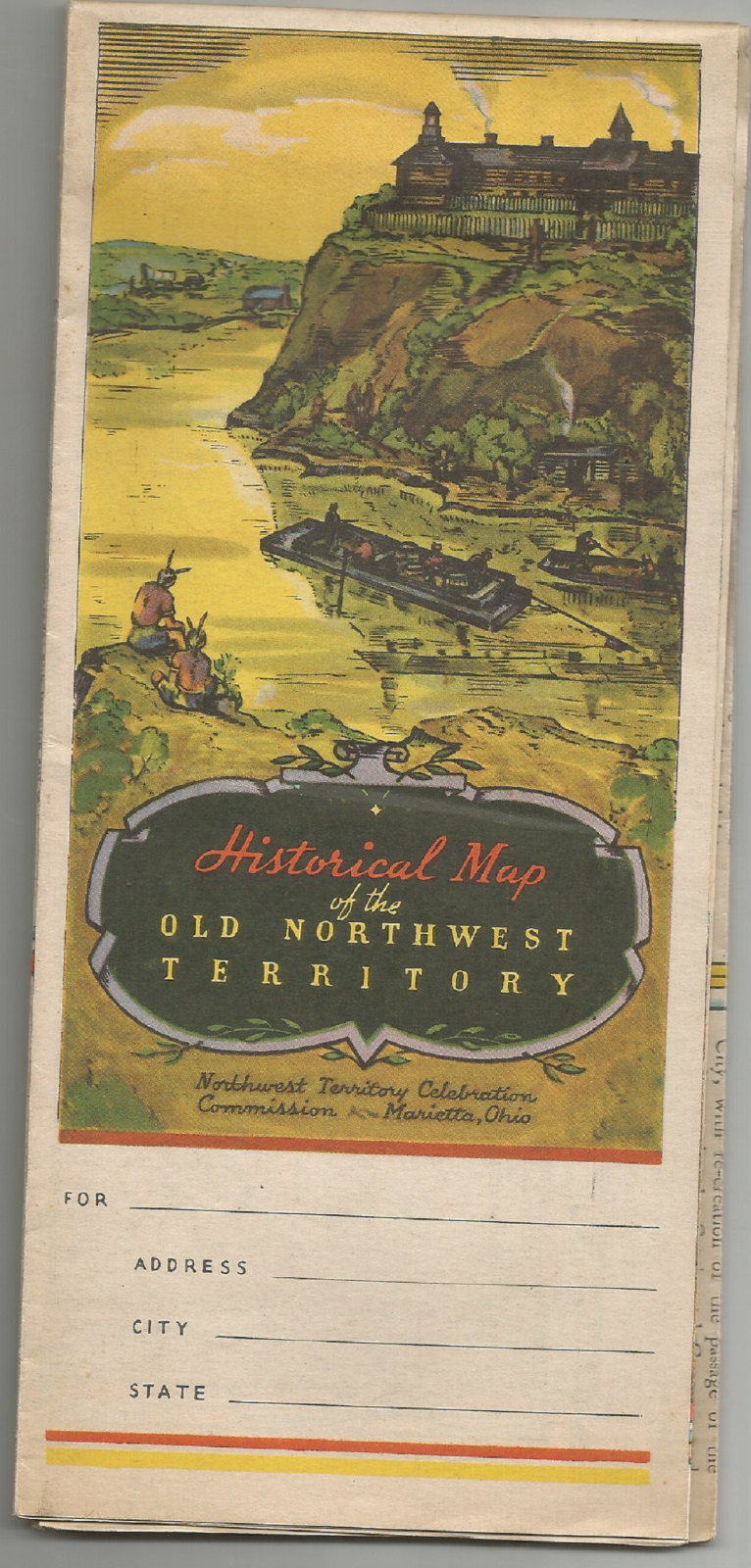VINTAGE HISTORICAL MAP OF THE OLD NORTHWEST TERRITORY WHEN FDR WAS PRESIDENT