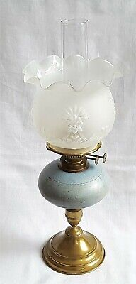 DUPLEX OIL LAMP FROSTED GLASS SHADE CERAMIC FONT - TWO BURNERS + FLAME SNUFFERS