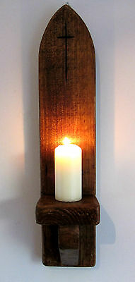 53CM RUSTIC SOLID WOOD ANTIQUE WAX GOTHIC ARCH CHURCH WALL SCONCE CANDLE HOLDER