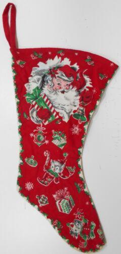 """Vintage Large Two Sided Flannel Christmas Stocking Santa Reindeer 20""""L + 4"""" Loop"""
