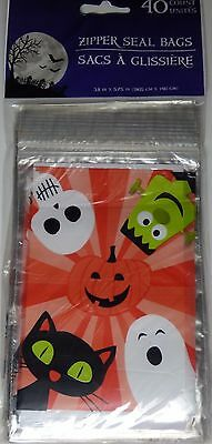 NEW Halloween Treat Bags with Zip Seal (40 Count)Halloween Friends~FREE SHIPPING