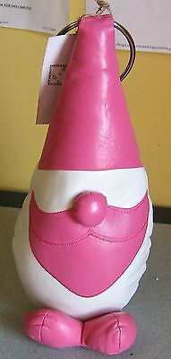 Wonderful Faux Leather Heavy Gnome Elf Doorstop, With Tags, Pink