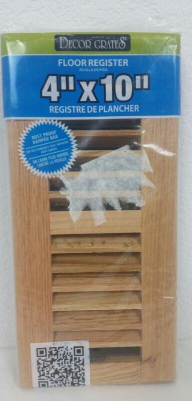"""NEW Decor Grates 4"""" x 10"""" Floor Register #WL410-N Oak Natural Solid"""