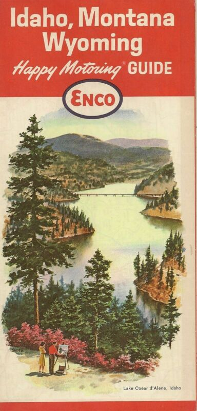 1964 ENCO HUMBLE OIL Road Map IDAHO MONTANA WYOMING Boise Butte Casper Cheyenne