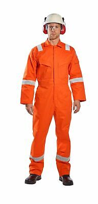 Portwest Ufr21 Super Lightweight Fr Anti-static Coverall In Navy And Orange