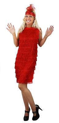 ROT FRANSEN FLAPPER KLEID UND STIRNBAND DAMEN 1920ER - Rote Fransen Flapper Kostüm