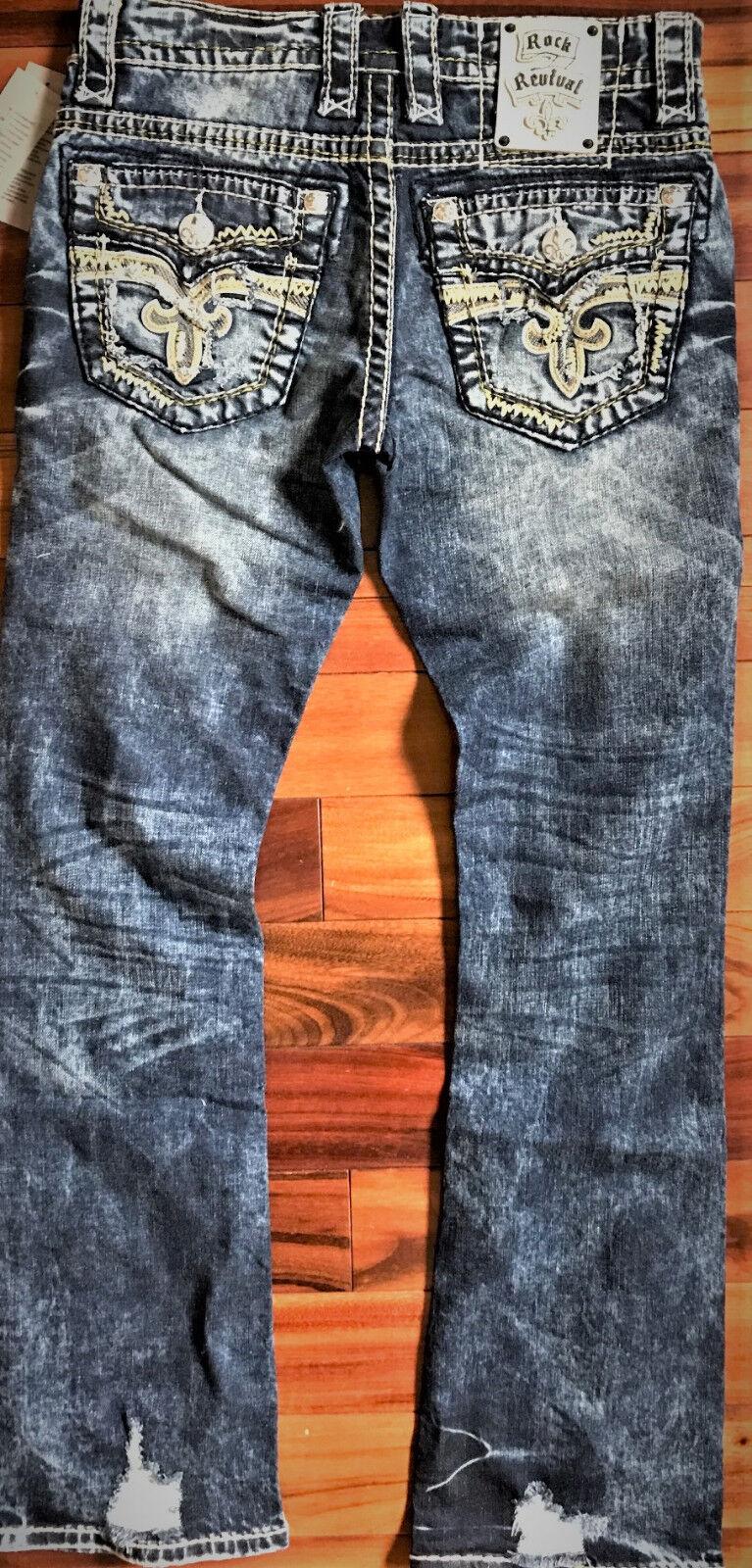 bbf36afc10f Мужские джинсы New Men s Rock Revival Scion Slim Bootcut 27 28 29 30 31 33  Regular Long