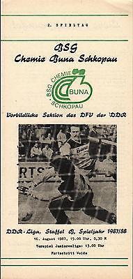 Ddr Liga 87 88 Bsg Chemicals Buna Schkopau   Progress Weida  16 08 1987