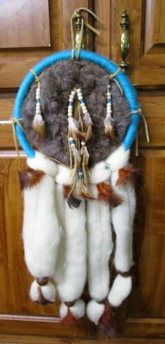 """Vintage Dream Catcher Fur Wool Beads Feathers 24"""""""