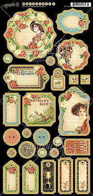 Graphic45 OFF TO THE RACES #1 Journaling Chipboard scrapbooking (27) PCS