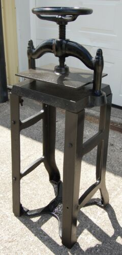 Vintage Heavy Cast Iron Book Press on Metal Stand, Hand Wheel Binder Printing