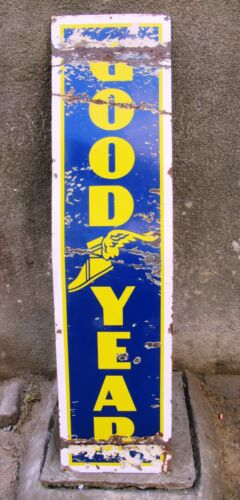 "Vintage Good Year Tire Tyre Sign Board Porcelain Enamel Gas Pump Display Rare""8"