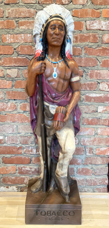 """Vintage Cigar Store Advertising Indian Burwood Products 48"""" Tall Made In USA"""