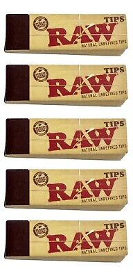 5X RAW Rolling Tips Unrefined Filter Raw Tips 50/pack - FAST USA SHIPPING
