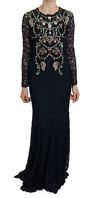 DOLCE & GABBANA Dress Blue Crystal Floral Lace Long Gown IT38/US4 /XS RRP $18000