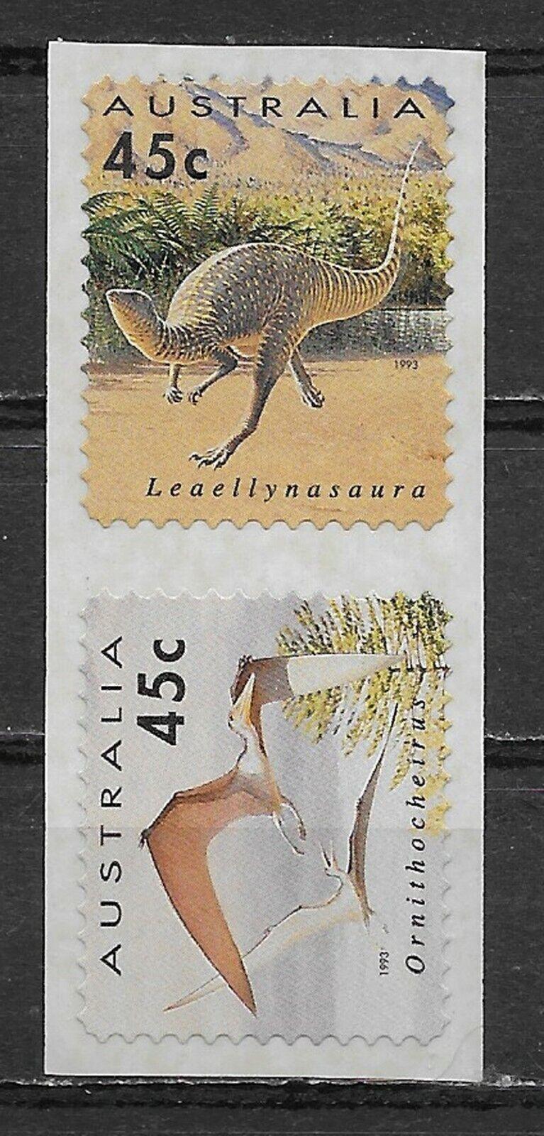 AUSTRALIA , 1993  , DINOSAURS, SELF-ADHESIVE , SET OF 2 STAMPS , MNH , CV$6.50
