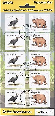 Österreich 06 oo 2622-3 Folienblatt Tierschutz Braunbär (3) Gestempelt sieh sca