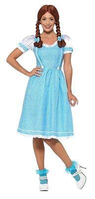 Womens Kansas Country Girl Dorothy Fancy Dress Costume Wizard of Oz Panto (Damen Wizard Of Oz Kostüm)
