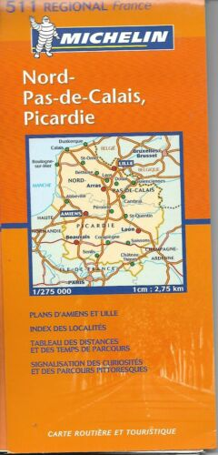 Map of Nord-Pas-de-Calais, Picardie, France, Michelin Map #511